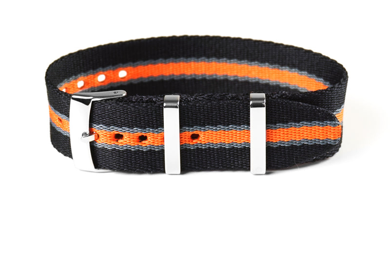 Single Pass Seat Belt Strap Black, Gray and Orange (20 & 22 mm)