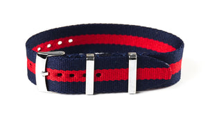 Single Pass Seat Belt Strap Navy and Red (22 mm)
