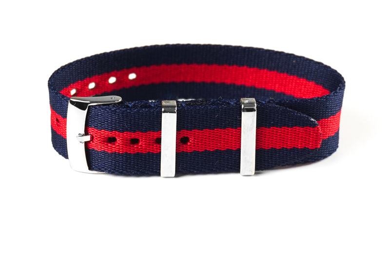 Single Pass Seat Belt Strap Navy and Red