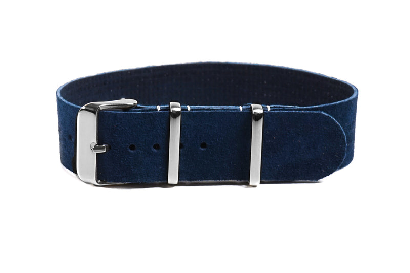 Single Pass Suede Strap Navy (18, 20 & 22 mm)