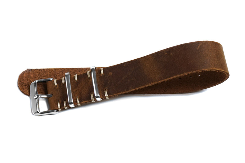 Single Pass Leather Strap Vintage Chocolate (22 & 24 mm)