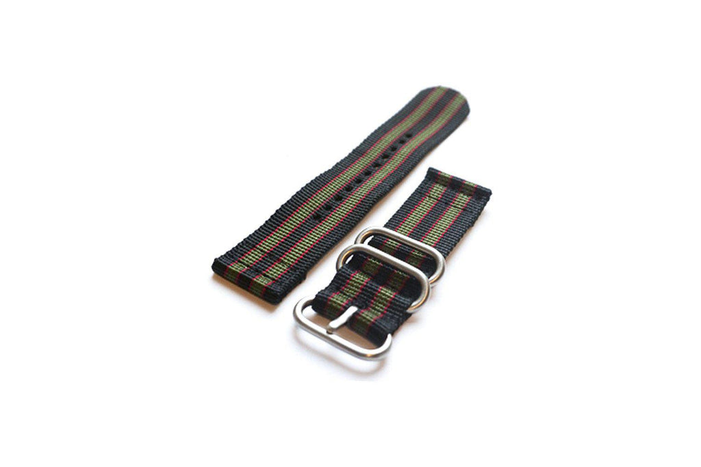 "Smart Watch Strap Black Red and Green ""James Bond"" - Cheapest NATO Straps"