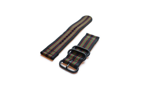 "Smart Watch Strap PVD Black Red and Green ""James Bond"" - Cheapest NATO Straps"