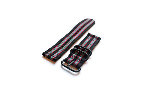 "Smart Watch Strap PVD Black Red and Grey ""James Bond"" - Cheapest NATO Straps"