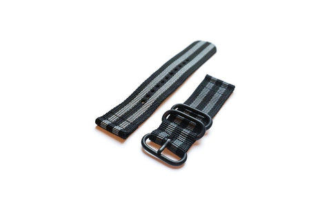 "Smart Watch Strap PVD Black and Grey ""James Bond"" - Cheapest NATO Straps"