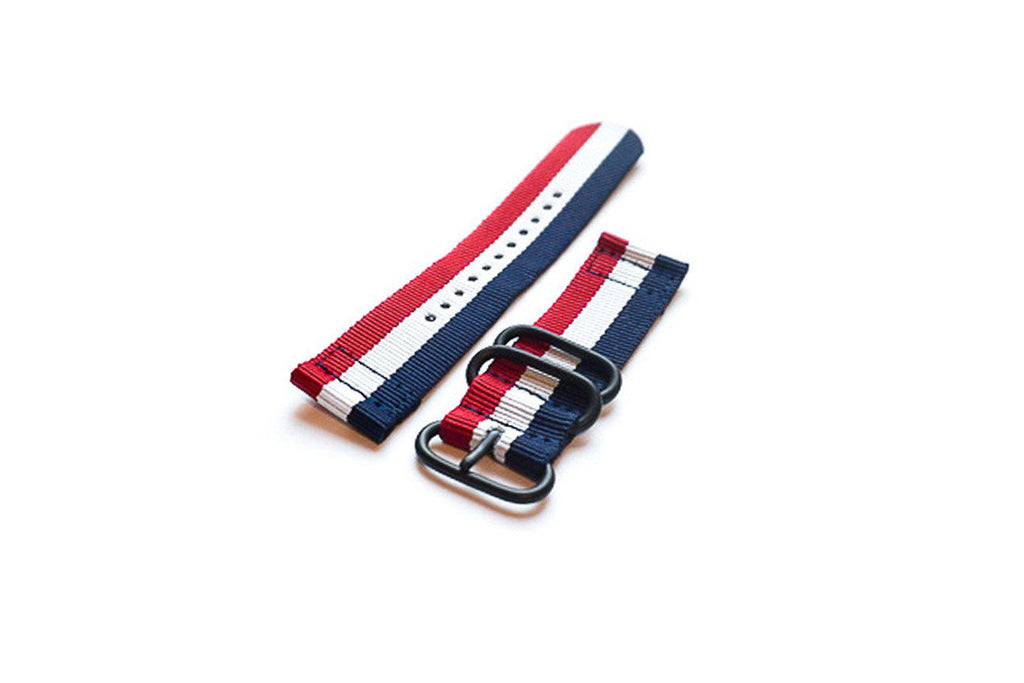 Smart Watch Strap PVD Red White and Navy - Cheapest NATO Straps
