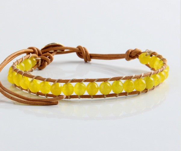 Yellow agate stone leather bracelet - Cheapest NATO Straps
