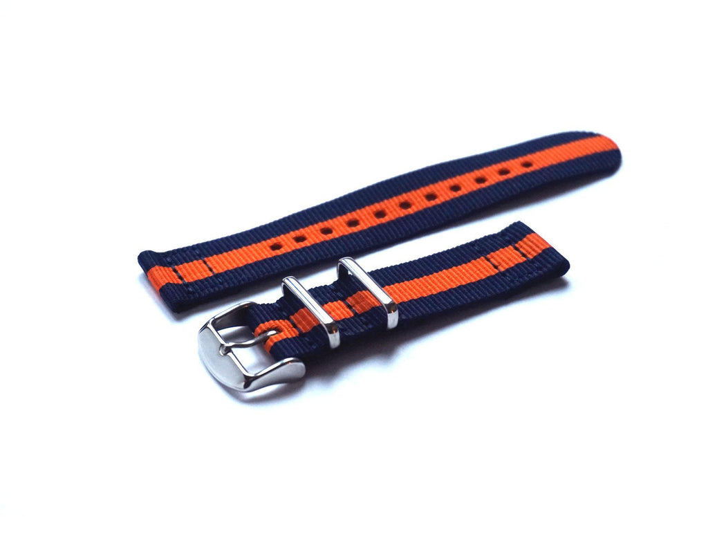 Two Piece NATO Strap Navy and Orange - Cheapest NATO Straps  - 1