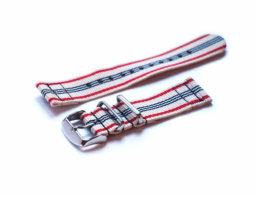 Two Piece NATO Strap Off White, Red and Black - Cheapest NATO Straps  - 1