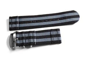 "Two Piece NATO Strap Black and Gray ""James Bond"" (26 mm)"