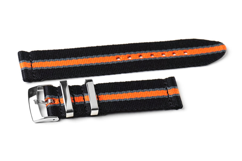 Two Piece Seatbelt Black, Gray and Orange (20 & 22 mm)