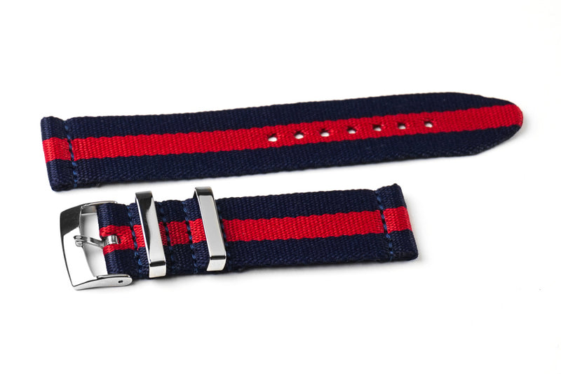 Two Piece Seatbelt Navy and Red (20 & 22 mm)