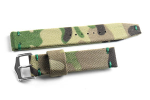 Vintage Canvas Camouflage with green stitching