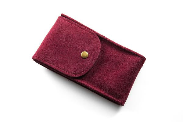 Watch Pouch Maroon Suede
