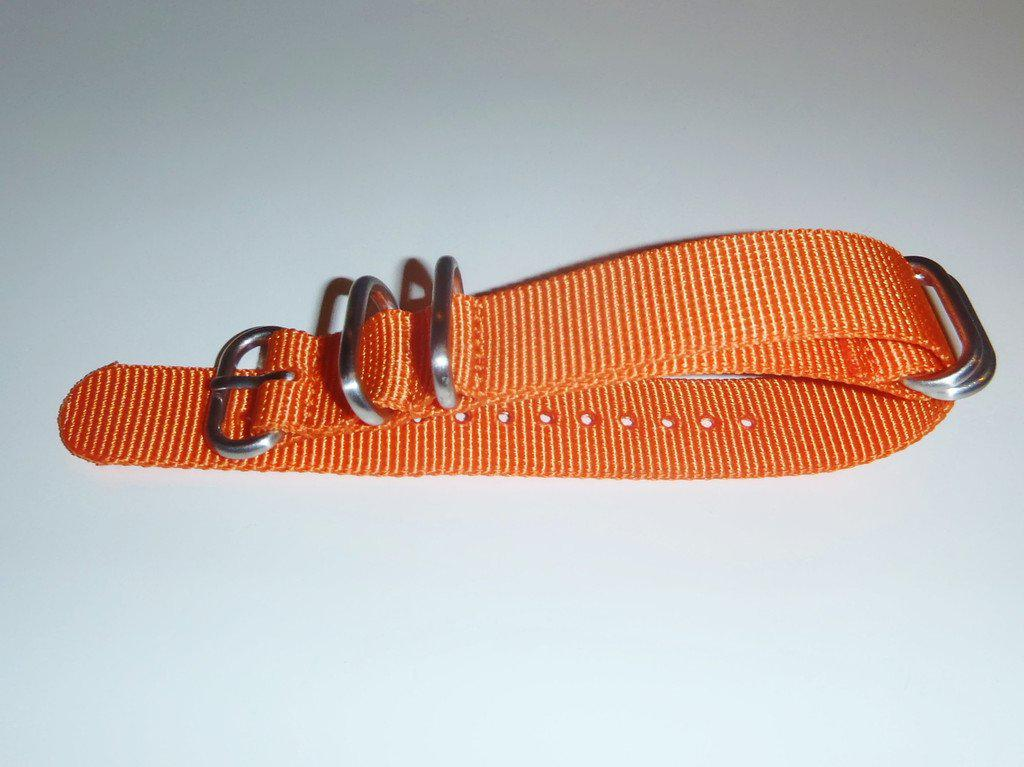 Extra Long Zulu strap SS 5-ring Orange - Cheapest NATO Straps  - 3