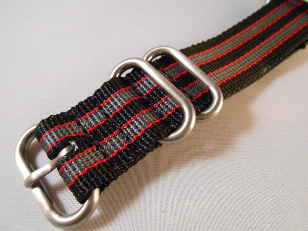 "Zulu strap SS 5-ring Black, Red and Gray ""James Bond"" - Cheapest NATO Straps  - 2"
