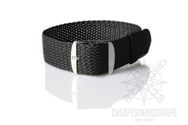 Perlon strap black (18 & 24 mm)