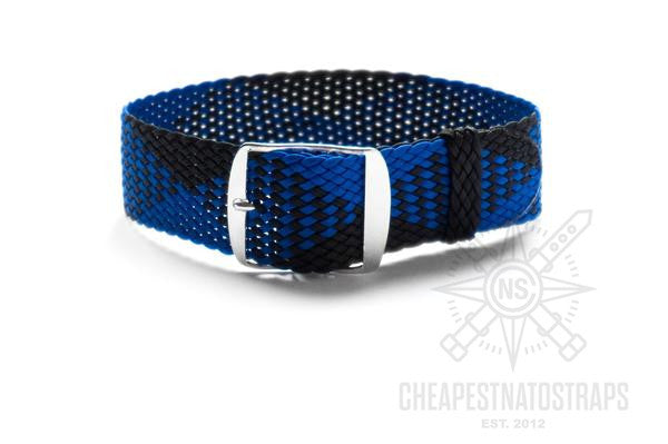 Adjustable Perlon strap Indigo Blue and Black