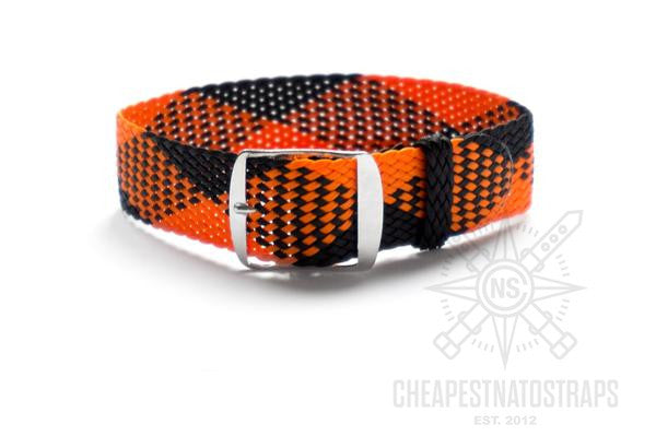 Adjustable Perlon strap Orange and Black