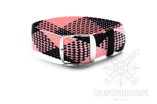Adjustable Perlon strap Pink and Black
