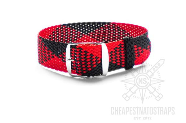 Adjustable Perlon strap Red and Black