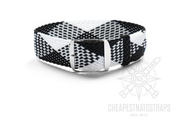 Adjustable Perlon strap White and Black