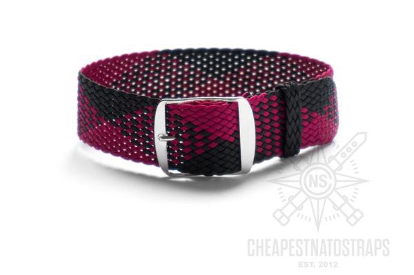 Adjustable Perlon strap Rasberry and Black