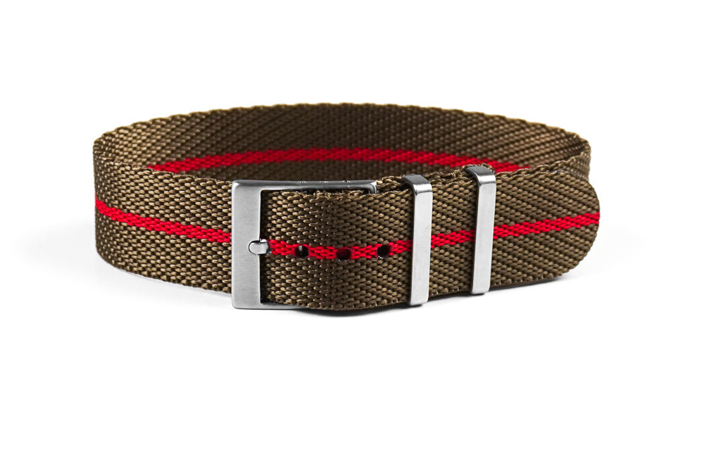 Adjustable Single Pass Strap Khaki and Red