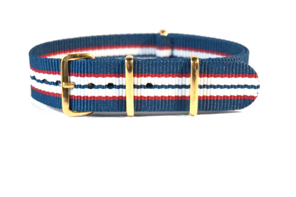 Gold premium NATO Strap Australia Blue, Red and White - Cheapest NATO Straps