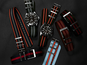 "SharkTooth Strap Black, Red and Green ""James Bond"""