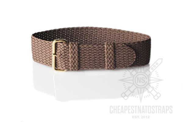 Gold Perlon strap brown