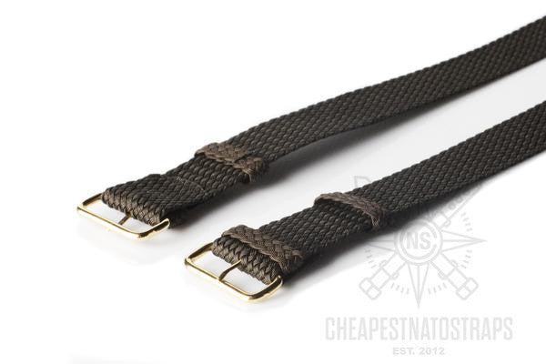 Gold Perlon strap dark brown