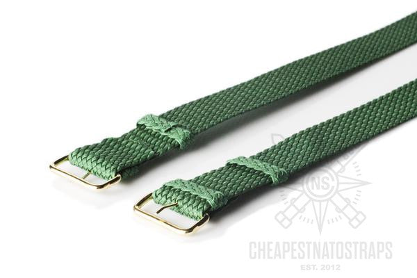 Gold Perlon strap green