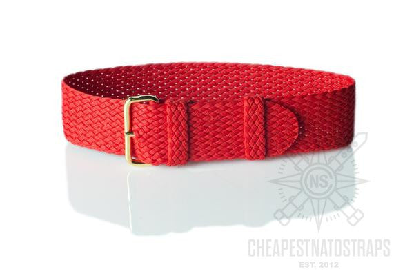 Gold Perlon strap red