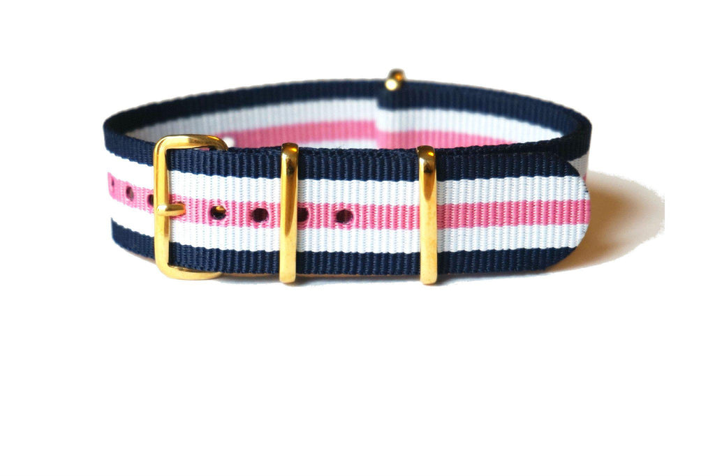 Gold premium NATO Strap Blue White and Pink - Cheapest NATO Straps
