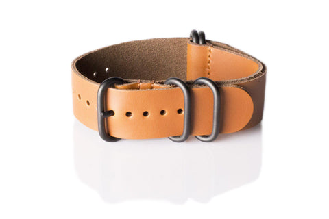 PVD Leather NATO Strap Truffle (20, 22 mm)