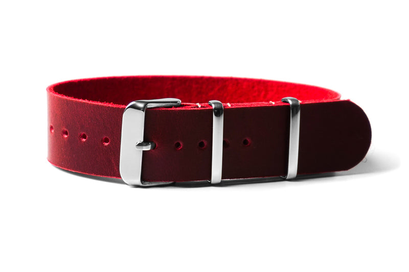 Single Pass Leather Strap Burgundy (22 & 24 mm)