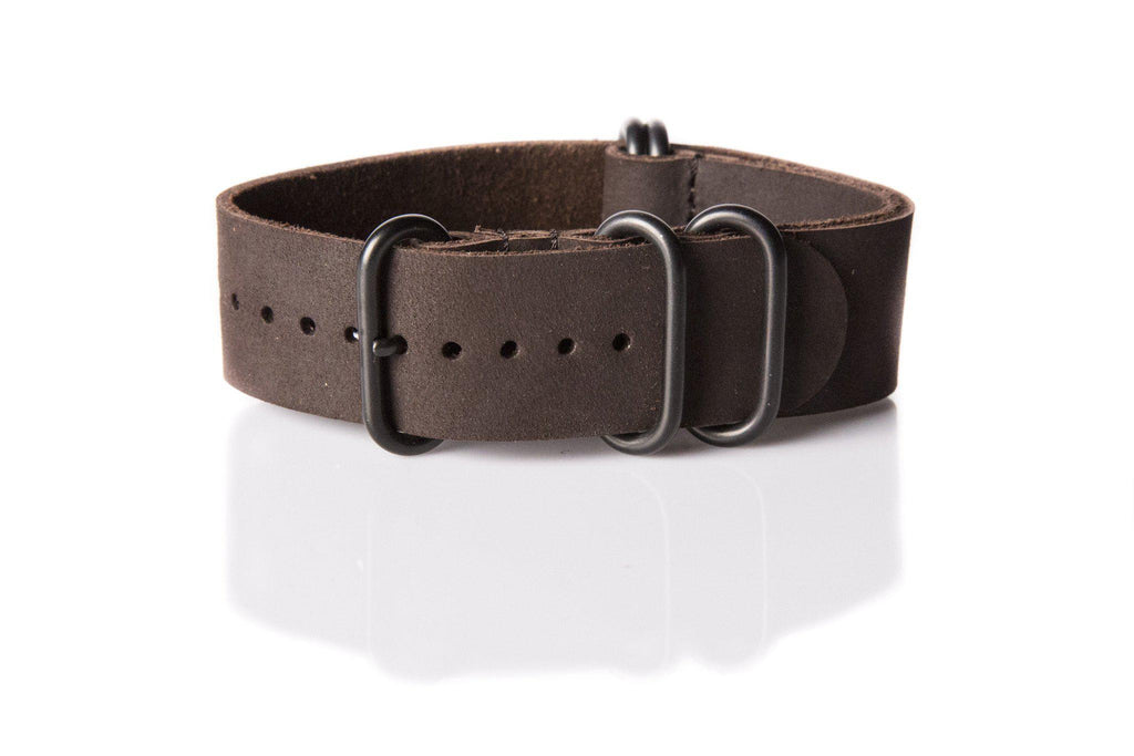 Leather PVD Zulu Strap Matte Brown - Cheapest NATO Straps  - 1