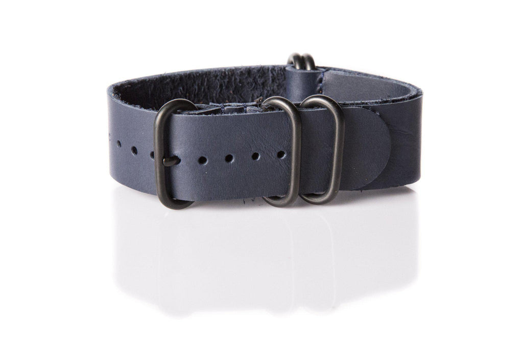 Leather PVD Zulu Strap Midnight - Cheapest NATO Straps  - 1