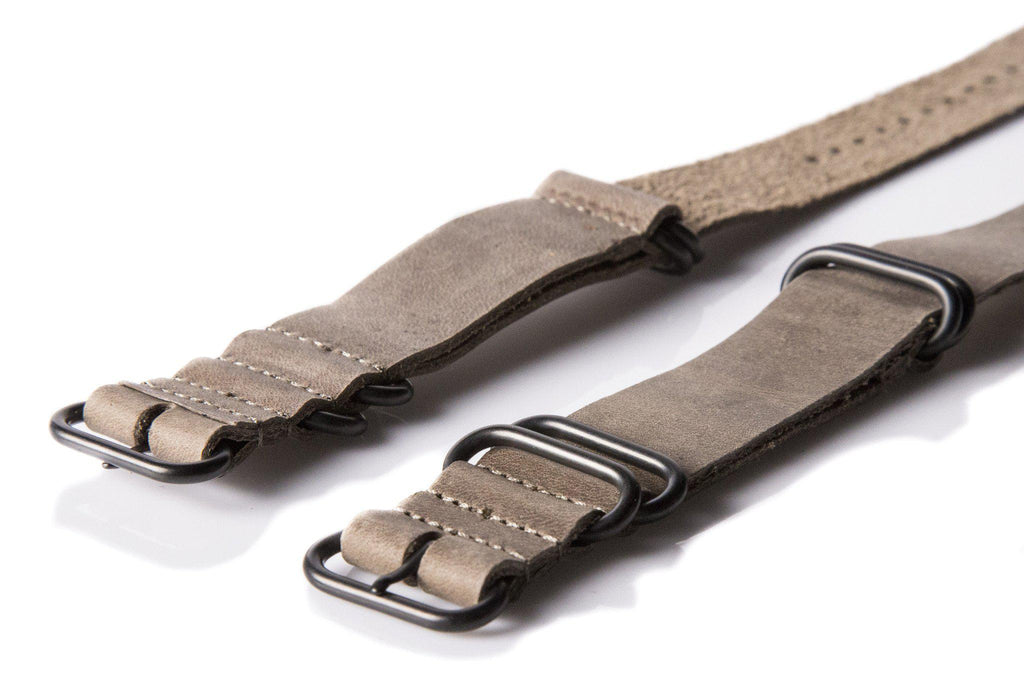 Leather PVD Zulu Strap Military Gray - Cheapest NATO Straps  - 2