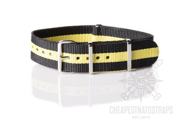 NATO Strap Black with one Yellow stripe (20 mm)