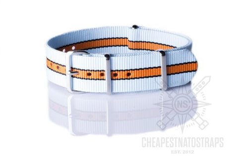 NATO Regimental Strap Le Mans Light Blue, Black and Orange