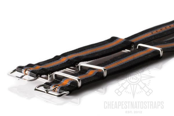 NATO Regimental Strap Black, Gray and Orange