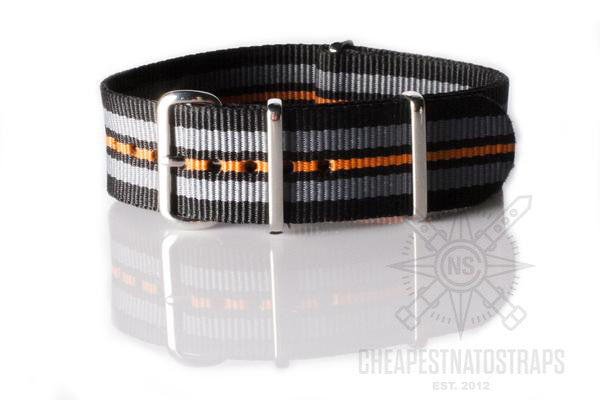 NATO Regimental Strap Black, Gray, Black and Orange