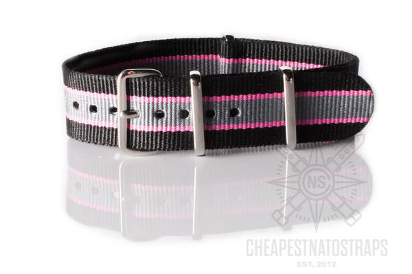 NATO Strap Black, Pink and Gray