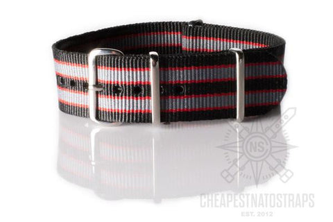 "NATO Regimental Strap Black, Red and Gray ""James Bond"""