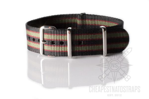 "NATO Regimental Strap Black, Red and Green ""James Bond"""