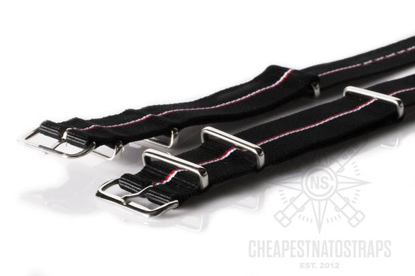 NATO Regimental Strap Black with thin Red and White stripe