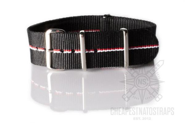 NATO Strap Black with thin Red and White stripe