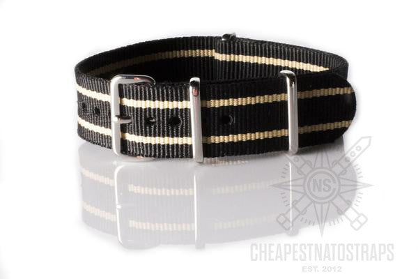 NATO Regimental Strap Black with two Beige stripes